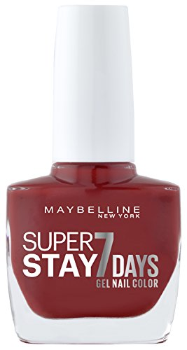 Maybelline New York Make-Up Super Stay Nailpolish Forever Strong 7 Days Finish Gel Nagellack Deep Red / Farblack mit ultra starkem Halt ohne UV Lampe in sattem Rot, 1 x 10 ml (Make-up Forever Uv)