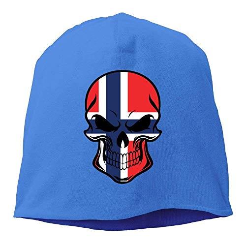 Zhgrong Caps Skull Beanie Hat Norwegian Flag Skull Mens Warm Winter Watch Cap Cool Cap Logo Winter Watch Cap
