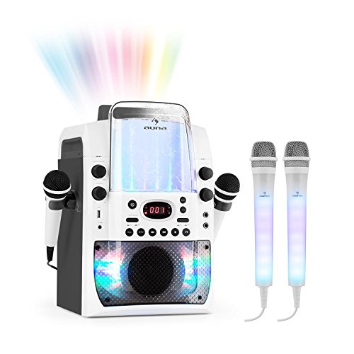 auna Kara Liquida BT und Dazzl Mic Set • Karaoke-Anlage • Karaoke-System • Karaoke-Set • Multicolor-LED-Lichteffekt mit Wasserfontäne • MP3 • USB • Bluetooth • Echo-Effekt • A.V.C-Funktion • grau - System Pl-licht