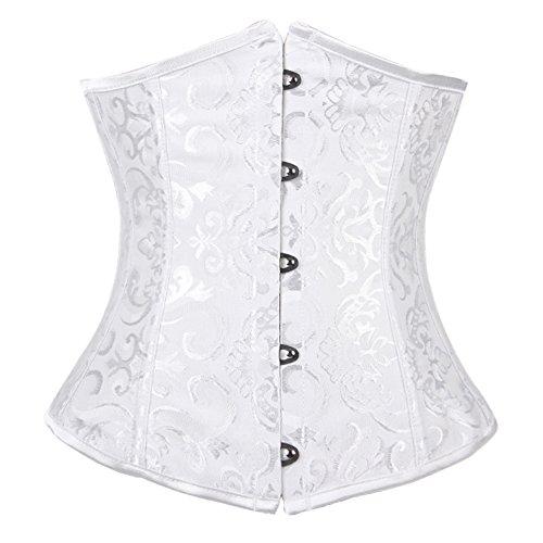 FeelinGirl Damen Korsage Unterbrustkorsett Satin Bauchweg Corsage Waist Cincher Top Tailenmieder Dessous 5XL White (Stretch Korsett Satin)