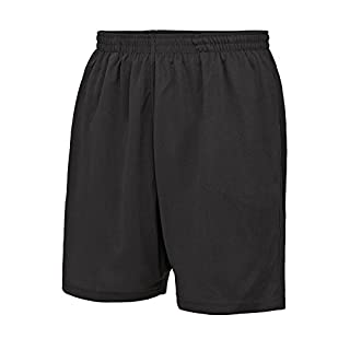 Absab Ltd AWDis Cool Mesh Lined Adult Shorts Mens Drawcord Elasticated Waist Two Side Pocket Casual Shorts Boys Sports Gym Training Fitness Running Swimming ShortsCharcoal Small