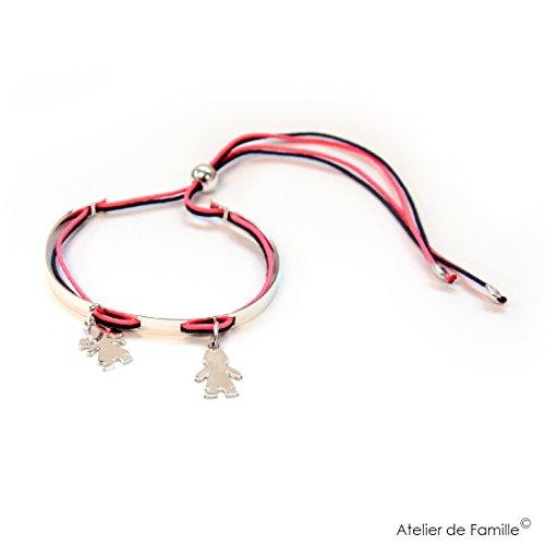 Armreif Couture® und 2mini Charm Silber massiv Mini Mädchen mit Bettdecken Mini Jungen Rosa Neon schwarz