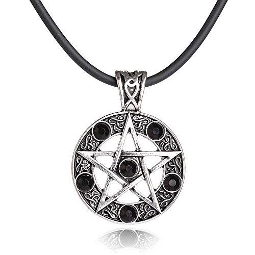 MJARTORIA Damen Herren Halskette Vintage Edelstahl Schwarz Strass Satan Logo Teufelsziege Pentagramm Anhänger Antik Silber Farbe mit Leder Kette