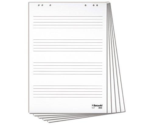 Betzold Flipchart-Block mit 4 Notensystemen, Format: 67,5x 96 cm, mit 20 Blatt geleimt, für alle üblichen Flipcharts verwendbar - Musik Musikunterricht Flipboard Notenlinien Vortrag