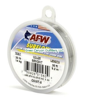 American Fishing Wire Surflon Nylon Coated 1 x 7 Stainless Steel Leader Wire, Bright Color, 30 Pound Test, 30-feet by American Fishing Wire