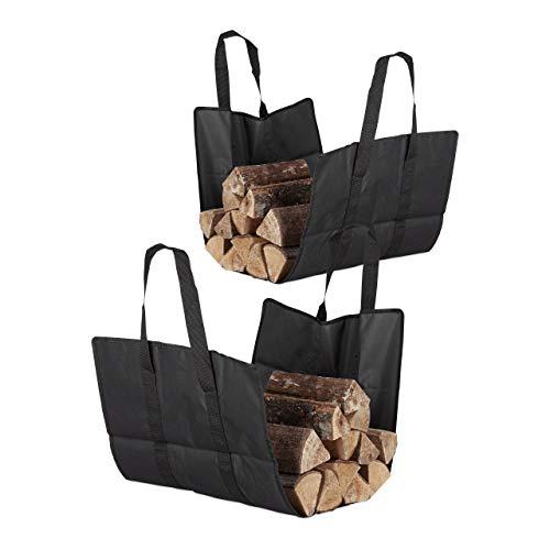 Kaminholztasche offen, aus Polyester, tragbarer Feuerholzkorb, faltbare Kamintasche, widerstandsfähig, schwarz (2er Set)