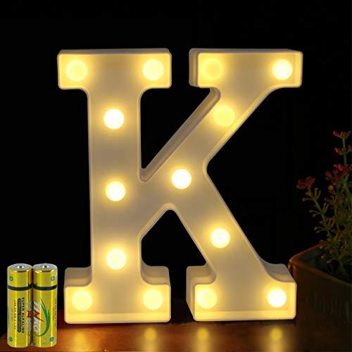 HONPHIER® Buchstaben Lichter Alphabet Lampe LED Brief Beleuchtung Buchstabe Licht Beleuchtete Buchstaben Nachtlichter Dekoration für Geburtstag Party Hochzeit Kinderzimmer (K) -