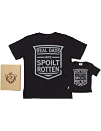 Spoilt Rotten - Real Dad & Kids T-Shirts - 100% Bio-algodón - Dad & Baby Gift Box Set