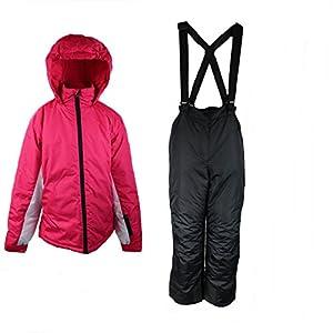 Pocopiano Mädchen Skianzug 2 Teilig Skihose+Skijacke Schneheanzug Schneehose + Schneejacke