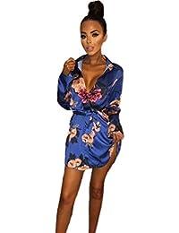 Odejoy Moda Estate Da Donna T-Shirt Lunga Sexy Stampa Floreale scollo a V  mini Gonna Manica lunga Maniche Corte… 7f18b5d16a8