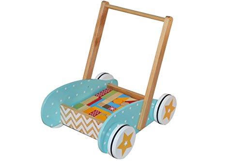 BeToys - 131992 - Chariot de marche + Jeu de construction en BOIS - Pom' Des Bois - Coloris...