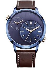 doble huso horario superiores única esfera azul correa de cuero genuino de negocios ideal moda casual reloj de la…