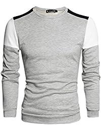 Allegra K Hommes Bloc De Couleur Manches Longues Épaule Panneau T-shirt À Col Rond