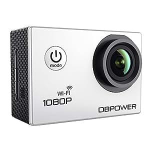 DBPOWER® WIFI Action Camera impermeabile 1080P HD 12MP KIT 2 Batterie ed accessoristica varia (Bianco WIFI)