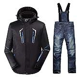 JIAKENVDE Skianzug Schwarzer Mann Schnee Kleidung Outdoor Snowboard Anzug Sets Wasserdichte Winter Kostüme Skianzug Sets Jacken + Lätzchen Hosen - 30
