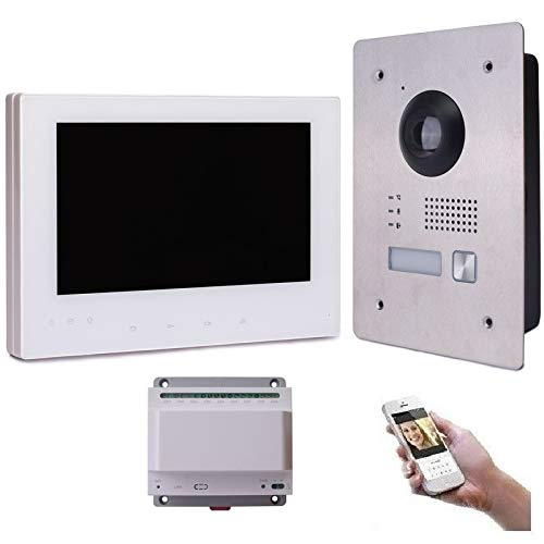 2 Draht IP Video Türsprechanlage Gegensprechanlage 7'' Monitor Weiß Kamera 170° HD, Edelstahl