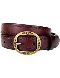 Ella Jonte ceinture femme marron en cuir avec boucle à ardillon 3,3 cm  largeur 879b629cf68