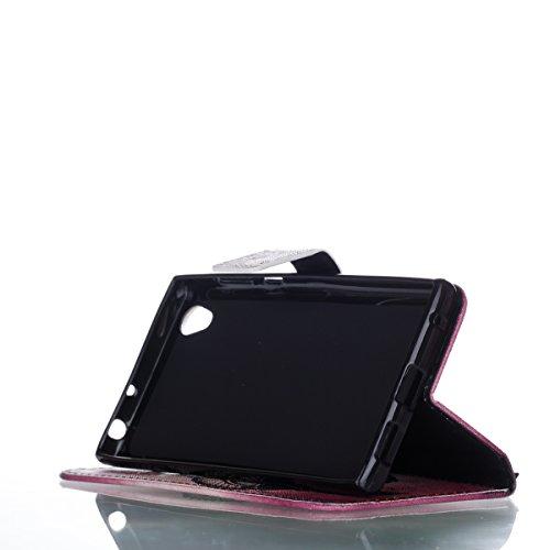 Hülle für Sony Xperia L1, Tasche für Sony Xperia L1, Case Cover für Sony Xperia L1, ISAKEN Malerei Muster Folio PU Leder Flip Cover Brieftasche Geldbörse Wallet Case Ledertasche Handyhülle Tasche Case Federn Catcher