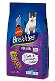 Brekkies Stérilisés Chats Croquettes au Poulet Légumes et Céréales Complètes 1,5Kg (Lot de 3)