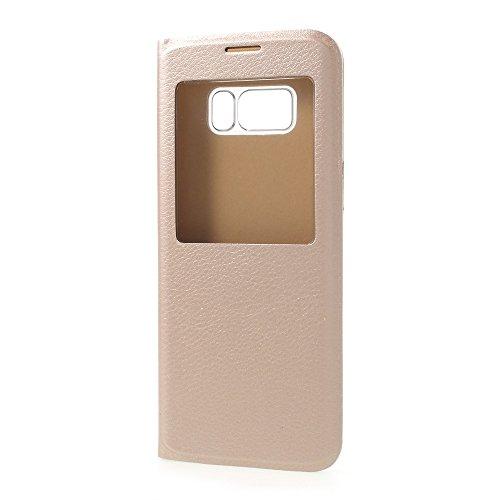 jbTec® Flip Case Handy-Hülle mit Fenster #M50 passend für Samsung Galaxy S8 - Tasche Schutz Cover Booklet Book, Farbe:Gold, Modell:Galaxy S8 / Duos/SM-G950