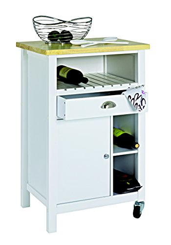 Haku-Möbel 29118 Küchenwagen weiß-Natur, 58 x 42 x 88