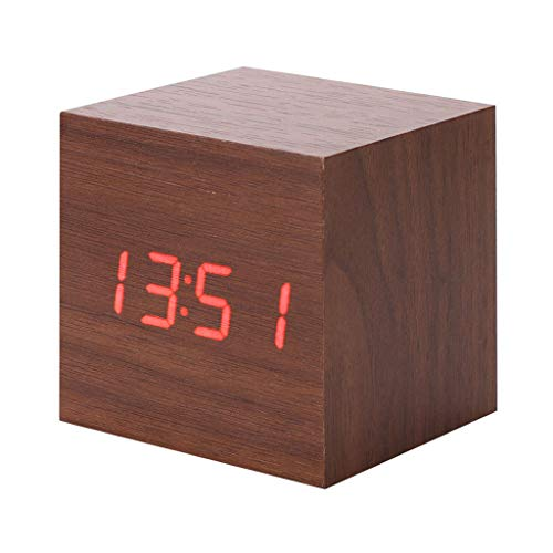 HOTSO Despertadores Digitales LED Control de Voz, Clásicos Reloj Despertador Electrónico Estilo Clásico de Mesillas con Rayado Madera, Bambú para Juveniles (Cuadro-Marrón)