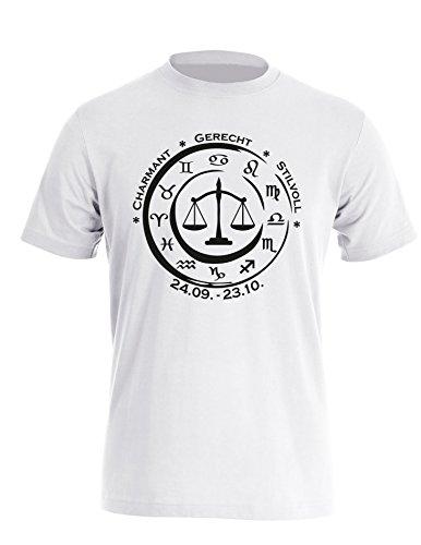 Sternzeichen Waage - Astrologie - Herren Rundhals T-Shirt Weiss/Schwarz
