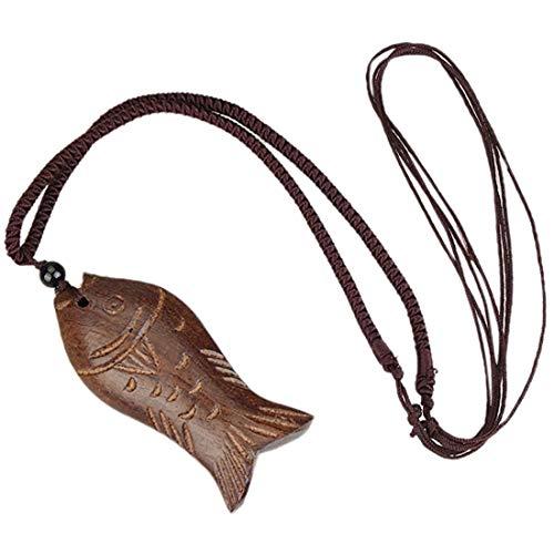 Strickjacke-Halskette - SODIAL(R)Vintage Kunstleder Halskette Kette Holz Glueck Fisch Anhaenger Braun