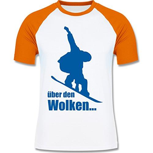 Wintersport - Snowboard - Über den Wolken - zweifarbiges Baseballshirt für Männer Weiß/Orange