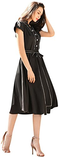 jeansian Damen Vintage Casual Short Sleeve Swing Tea Dress with Belted WHS456 Black