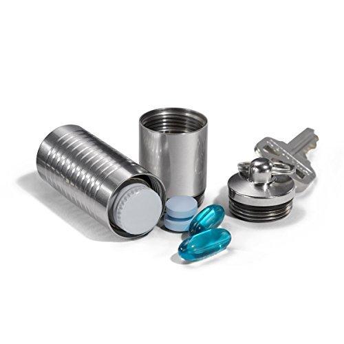 Cielo Pille Halter–Groß, wasserdicht Dual Kammer Edelstahl Schlüsselanhänger Pille FOB und Nitro Flasche & Aspirin Halterung