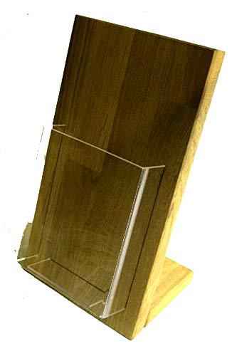 LINLAY Intarsien & Gravuren 11x21 DIN-Lang DL Tisch Flyerhalter Holz Eiche Prospektständer...