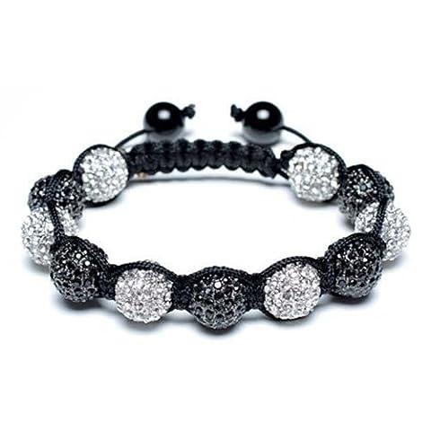 Bling Jewelry Bracelet Style Shamballa Perles Onyx et Argentée Serties de Crystaux Noirs et Diamantés 12mm