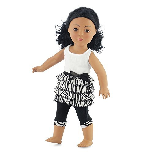 18 Inch Doll Clothes Zebra Ruffled Shirt & Capri Leggings | Outfit Fits 18 American Girl Dolls | Gift-boxed! by Emily Rose Doll Clothes