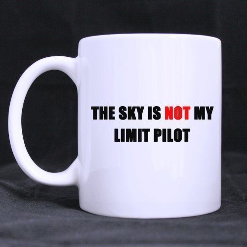 fts Funny Guys Gifts Funny Quotes The Sky is NOT my Limit Pilot Tea/Coffee Cup 100% Ceramic 11-Ounce White Mug ()