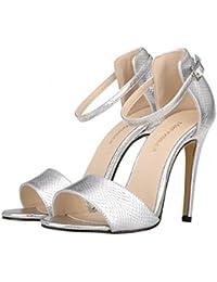 3a06e6525 Sandalias de Verano Moda con Estilo Tacones Altos Mujeres Zapatos de Bomba  Superior de Cuero de