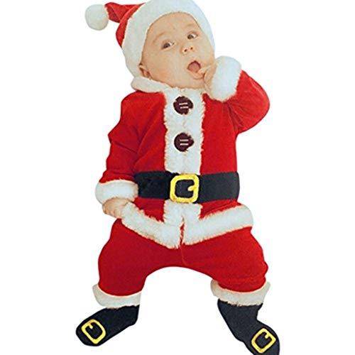 Kobay 4 STÜCK Säugling Baby Weihnachtsmann Oberteile + Hosen + Mütze + Socken Outfit Set Kostüm (80/12 Monat, Rot)