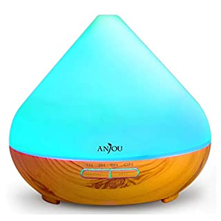 Anjou Essential Oil 300mL Aromatherapy Diffusers Ultrasonic Aroma Humidifier (Up to 8H Use, Mist Control, Waterless Auto Shut-Off, 4 Timer Settings, 7 Color LED (Light Grain), 300 mL