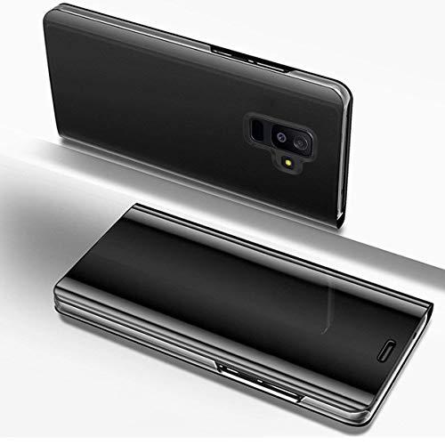 Hülle Kompatibel mit Samsung Galaxy A6 Plus 2018 Spiegel Ledertasche BookStyle Handyhülle Brieftasche Glitzer Kristall Spiegel Hülle Mirror Case Leder Flip Tasche Lederhülle,Schwarz