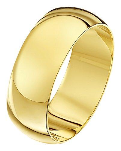 Theia Unisex Ehering 9 Karat Gelbgold, Sehr Massive D-Form, poliert, 8mm - Größe 50 (15.9) - 8mm Ehering