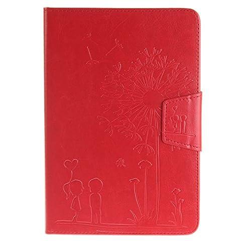 GHC Cases Für iPad Mini 1 2 3, Solid Color Maganetic PU Ledertasche Dandelion Embossing Case Flip Folio Case mit Wallet Holder Eingebauter Kickstand ( Color : Red , Size : IPad Mini 1 2 3 )