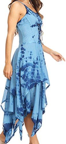 Sakkas Annabella Korsett Mieder Taschentuch Saum Kleid Blau