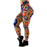 Damen Leggings Sport Frauen Training Zerkleinert Jeans Drucken Leggings Fitness Sporthalle Yoga Athletische Hose Orange S