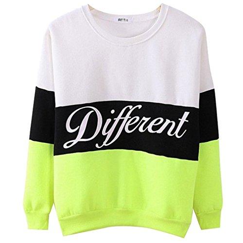 Donne Different Stampa Manica Lunga Pullover Shirt Top Camicetta Felpa bianca