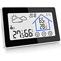 kungfuren Weather Station, Wireless Temperature Humidity with Outdoor Sensor, White Backlight Display, Touchscreen Outdoor Indoor Thermo Hygrometer Thermometer (Wireless Weather Station)