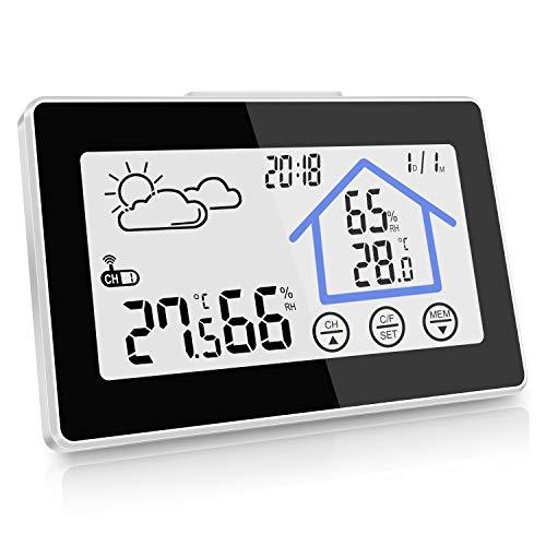 kungfuren Wetterstation, Digitale Funkwetterstation weißes Backlight-Display mit Indoor-Außenthermometer Hygrometer-Sensor, Wetterstation Uhr,Datumsanzeige ,Alarm-Funktion (Wecker)