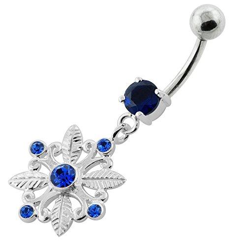 Trendy carré fleurs pendantes Design 925 Sterling Silver ventre bar Bleu foncé