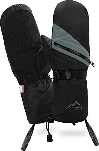 normani Winter Fausthandschuhe mit wasserdichtem Reißverschluss und wärmender ComforMax Füllung mit langem Schaft Armwärmer Farbe Schwarz Größe XL