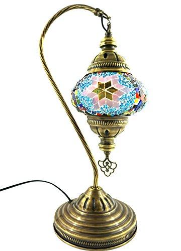 Gold-mosaik-tisch-lampe (Handgefertigte Orientalisch Türkisch Tisch Lampe Innenleuchte Nachttischlampe Beistelllampe Handarbeit Mosaik Glas Tischlampe Bogenlampe Glasgröße 2 (Bunt-Lila-Gold))