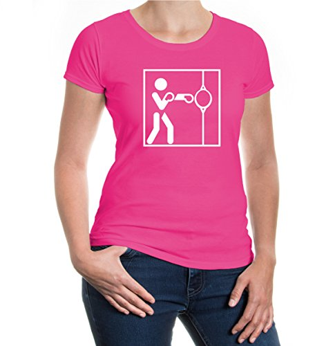 buXsbaum® Girlie T-Shirt Punching Ball-Piktogramm Fuchsia-White